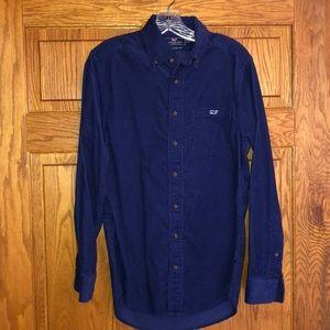 Vineyard Vines Blue Corduroy Slim Fit Tucker Shirt